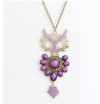 ぞんざい感のあるフクロウモチーフのネックレス アクセサリー 紫